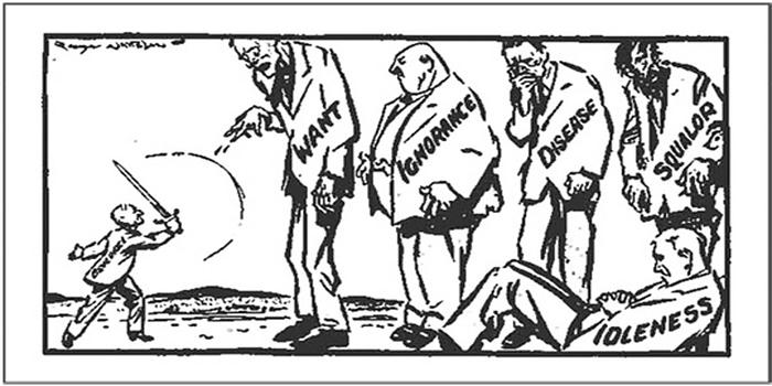 """Beveridge lotta contro i """"cinque giganti"""", in un'illustrazione dell'epoca"""